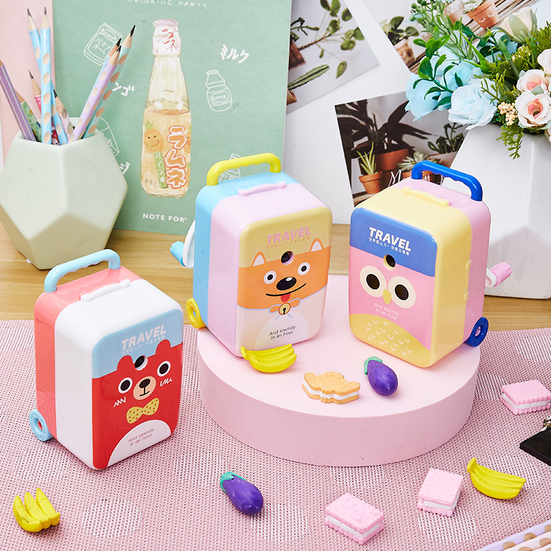 Travel World Pencil Sharpener Cartoon Creative Pencil Sharpener New Large Suitcase Pencil Sharpener For Students 4