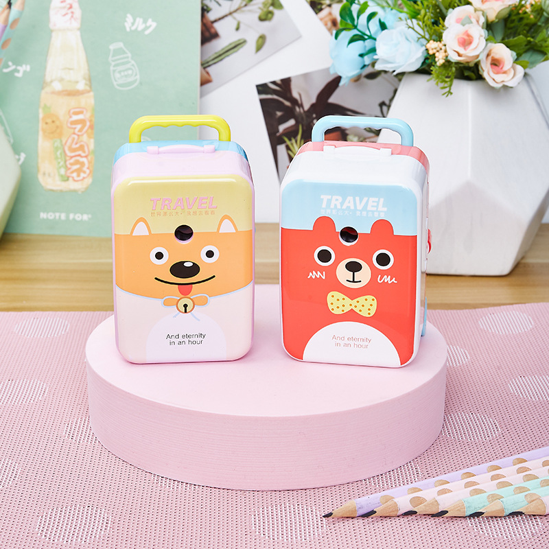Travel World Pencil Sharpener Cartoon Creative Pencil Sharpener New Large Suitcase Pencil Sharpener For Students 1