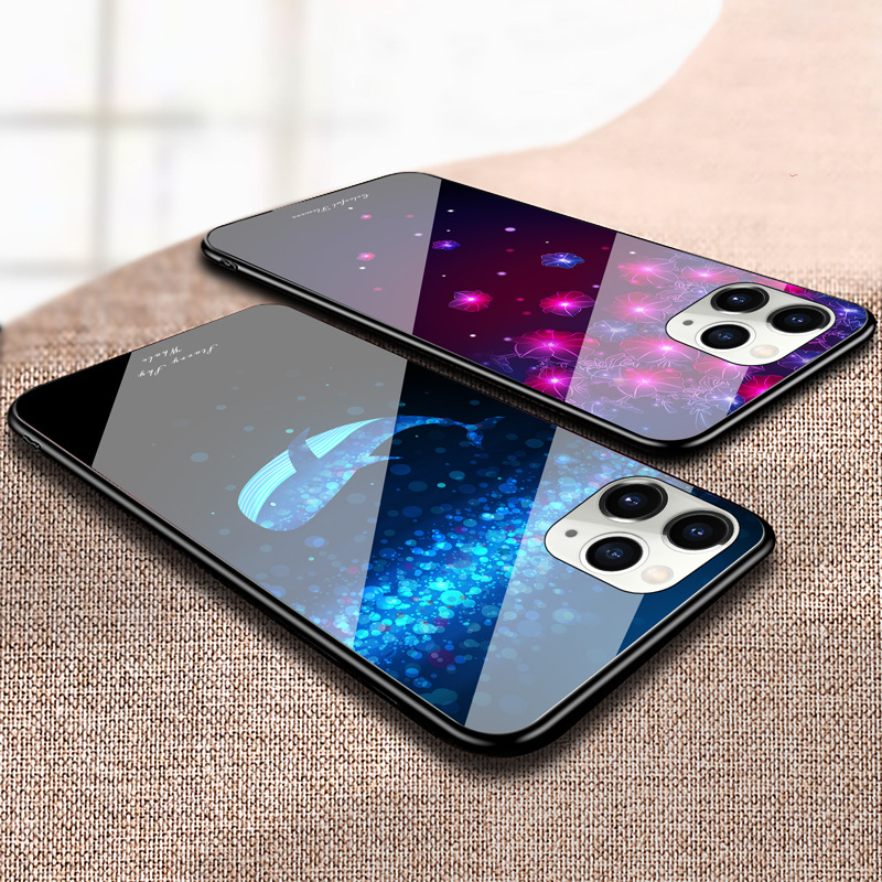 Starry Sky Butterfly Flower Glass Phone Case Protective Cover Suitable For iphone11pro/XR/XSmax/se2/ iphone 12 1