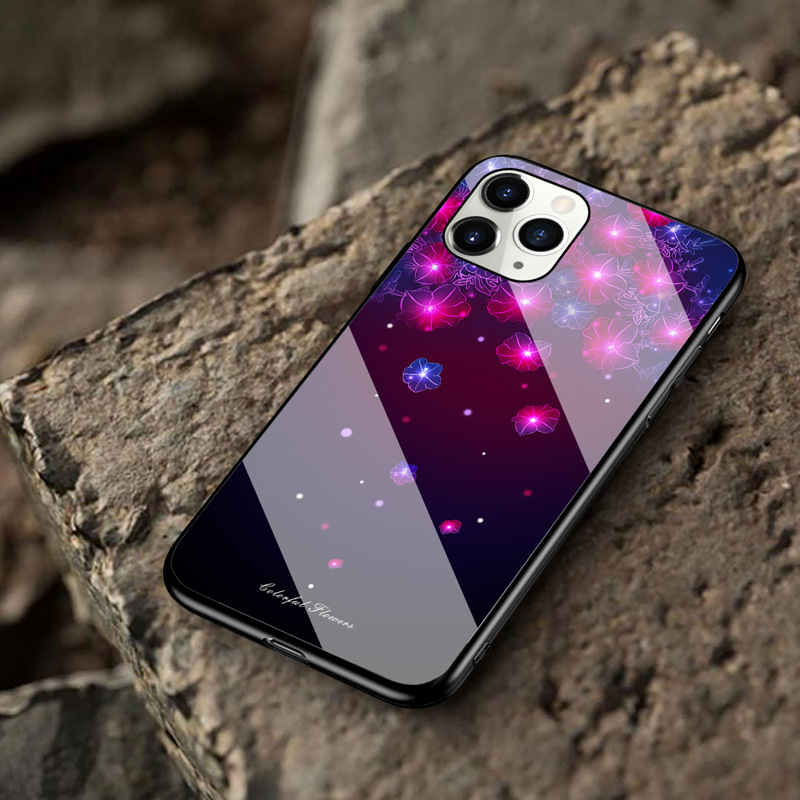 Starry Sky Butterfly Flower Glass Phone Case Protective Cover Suitable For iphone11pro/XR/XSmax/se2/ iphone 12 2