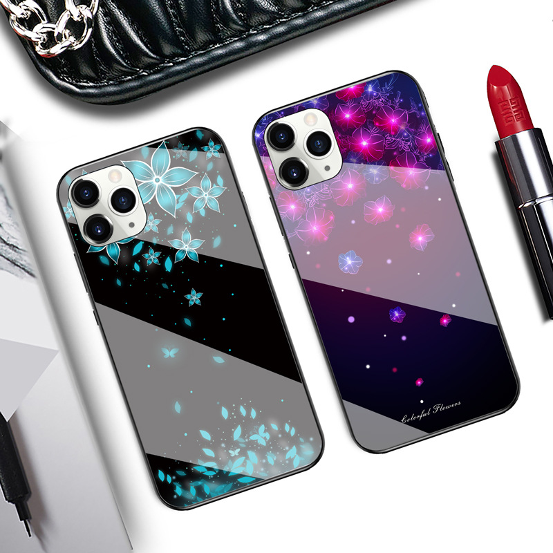 Starry Sky Butterfly Flower Glass Phone Case Protective Cover Suitable For iphone11pro/XR/XSmax/se2/ iphone 12 0