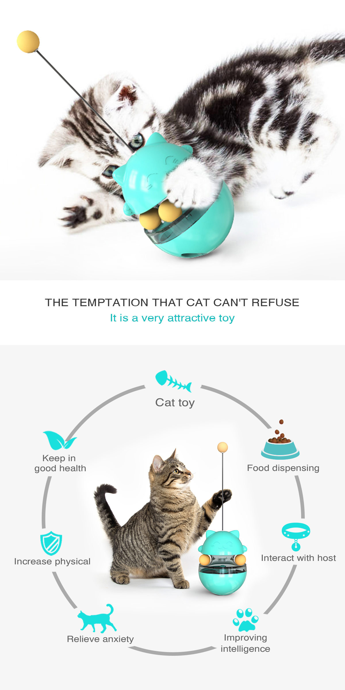 Pet Supplies Shake Cat Toy Teasing Cat Stick Teasing Artifact Track Ball Does Not Spill Food Ball MOQ 30 PCS 3