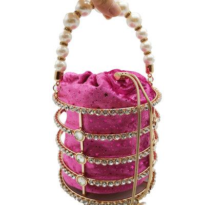 Women's Totes Bag Metal Bucket Bag Pearl Diamond Set Party Evening Bag Withdrawal Chain Hollow Bag MOQ 1pcs 5
