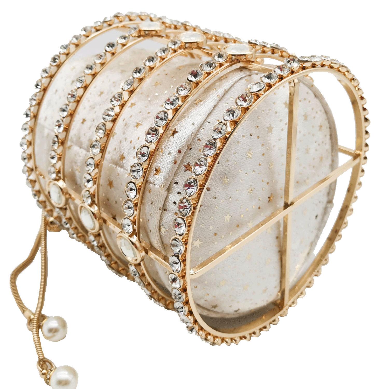 Women's Totes Bag Metal Bucket Bag Pearl Diamond Set Party Evening Bag Withdrawal Chain Hollow Bag MOQ 1pcs 3