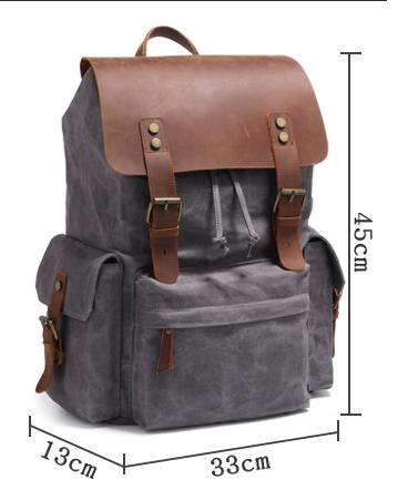 Men's Computer Backpack Retro Crazy Horse Leather Backpack Canvas Backpack Men's Bag 6