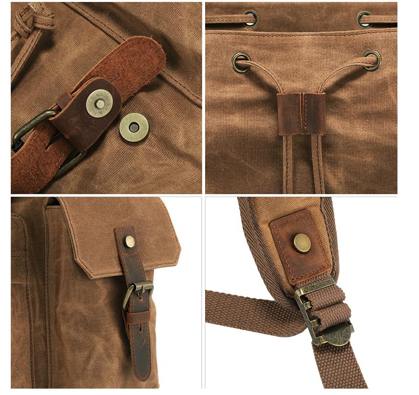 Men's Computer Backpack Retro Crazy Horse Leather Backpack Canvas Backpack Men's Bag 2