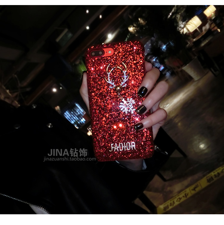 Christmas Elements Elk Sequined Glitter Phone Case Hard Shell Deer Phone Case With Fashion Trend Style 1