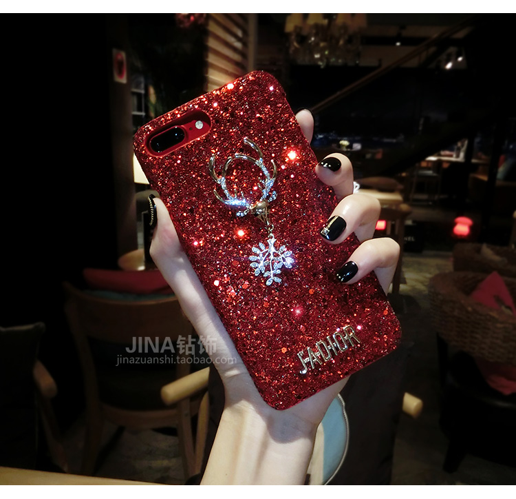 Christmas Elements Elk Sequined Glitter Phone Case Hard Shell Deer Phone Case With Fashion Trend Style 5