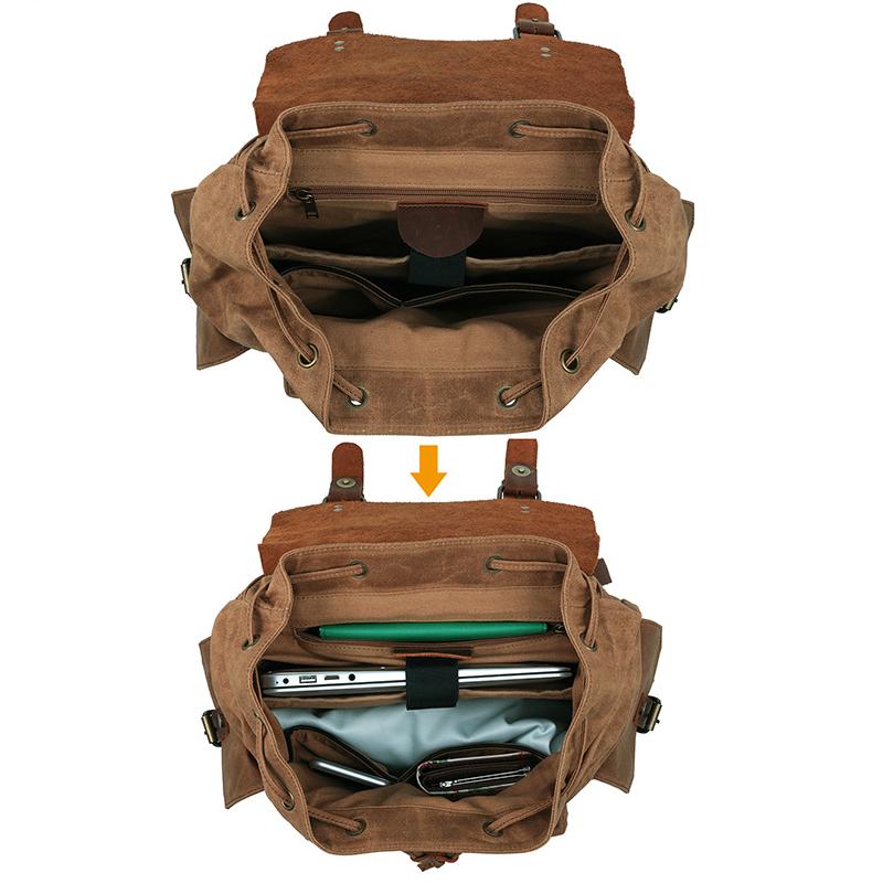 Men's Computer Backpack Retro Crazy Horse Leather Backpack Canvas Backpack Men's Bag 3
