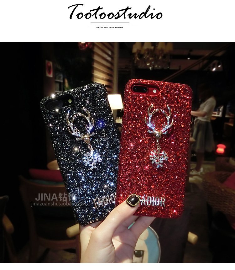 Christmas Elements Elk Sequined Glitter Phone Case Hard Shell Deer Phone Case With Fashion Trend Style 3