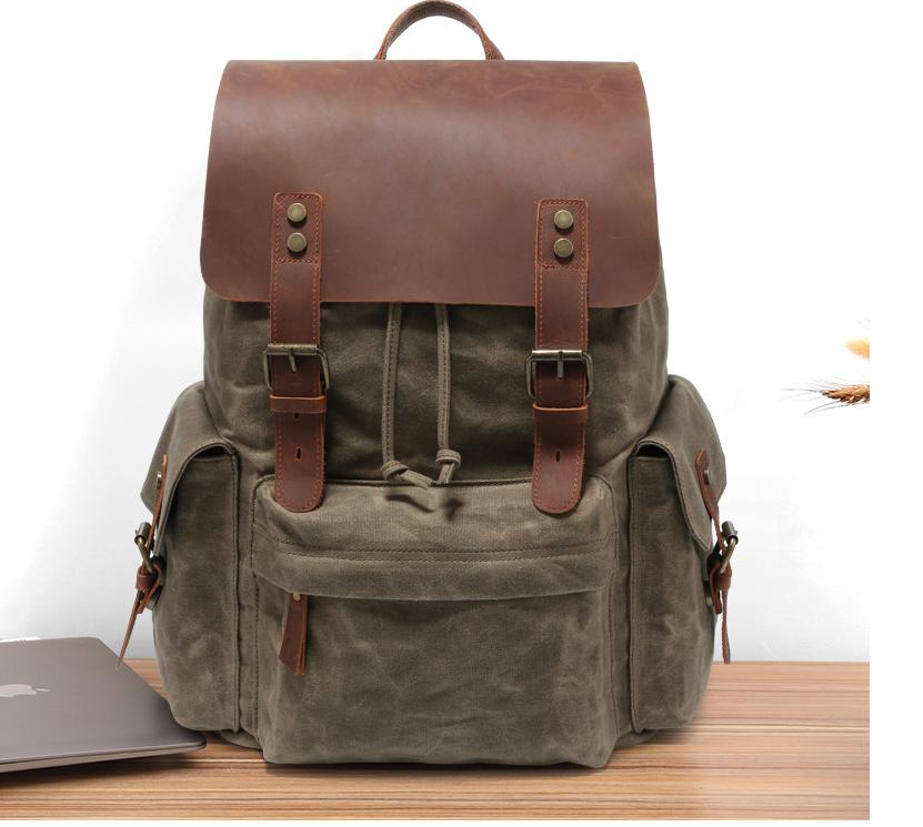 Men's Computer Backpack Retro Crazy Horse Leather Backpack Canvas Backpack Men's Bag 0