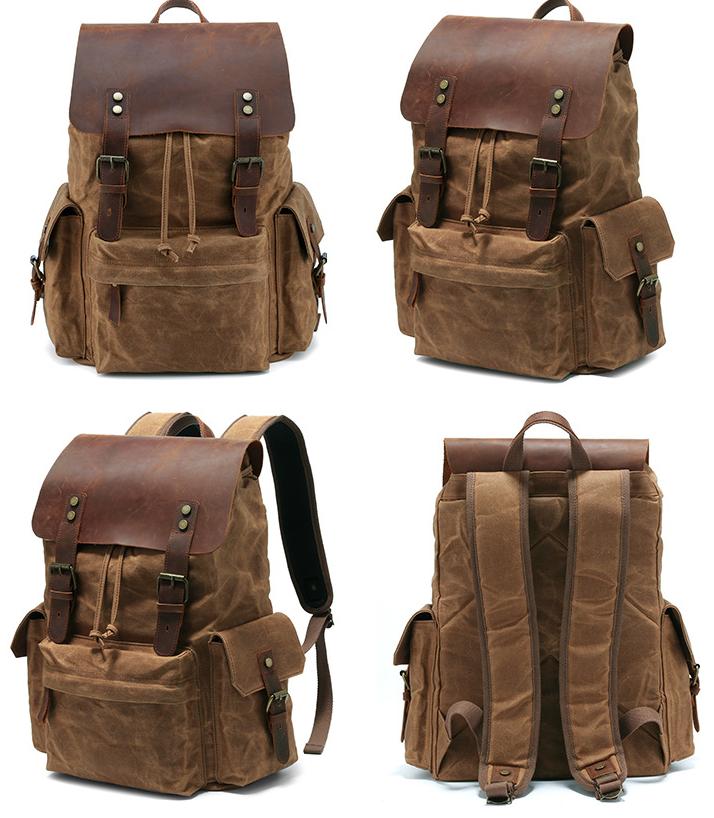 Men's Computer Backpack Retro Crazy Horse Leather Backpack Canvas Backpack Men's Bag 4