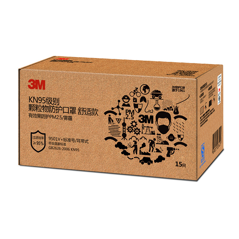 3M 9501V+ Individual Packaged KN95 Particulate Matter Protection Industrial Dust and Smog PM2.5 Mask 1