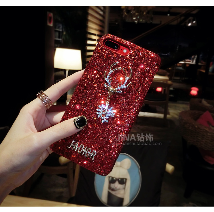 Christmas Elements Elk Sequined Glitter Phone Case Hard Shell Deer Phone Case With Fashion Trend Style 4