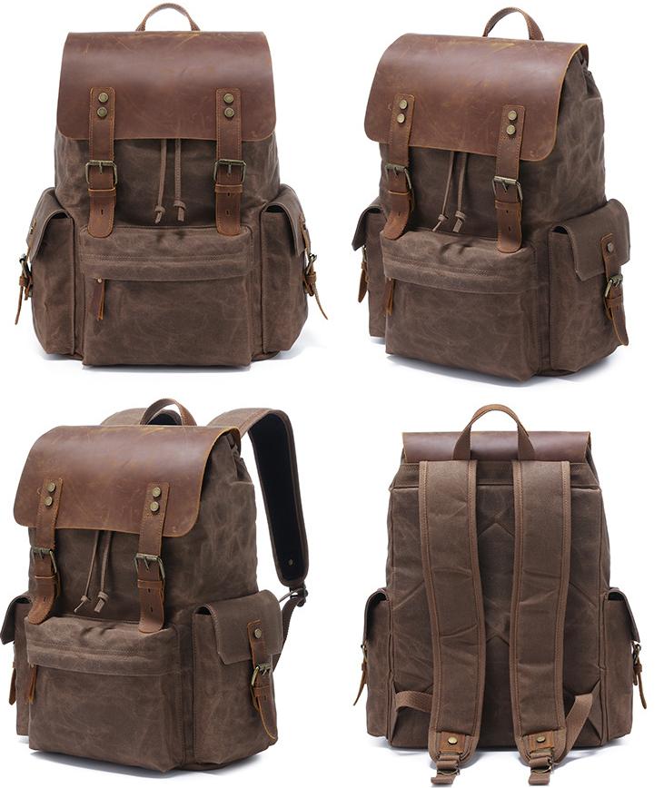 Men's Computer Backpack Retro Crazy Horse Leather Backpack Canvas Backpack Men's Bag 5