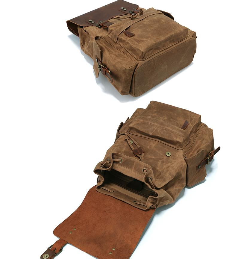 Men's Computer Backpack Retro Crazy Horse Leather Backpack Canvas Backpack Men's Bag 1
