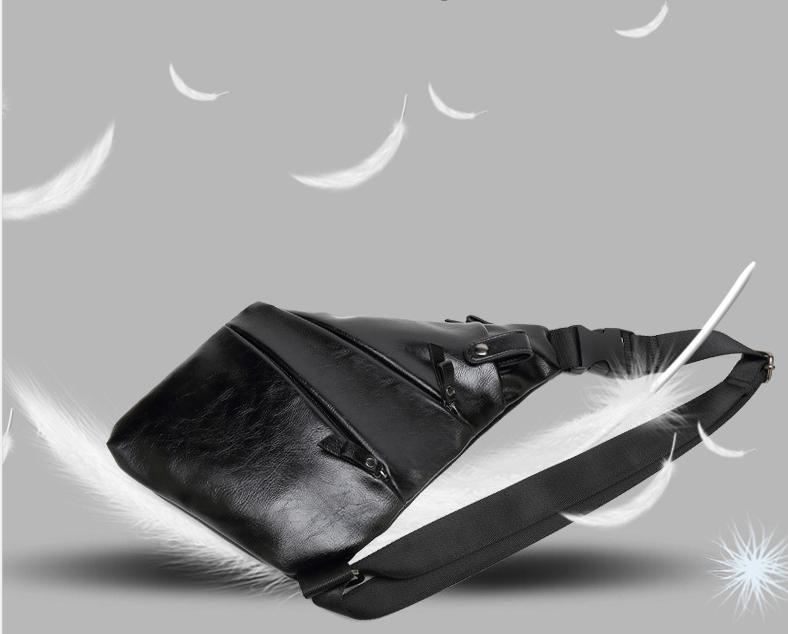 Personalized Waterproof Men's Chest Bag Multi-function Personal Anti-theft PU Gun Bag Fashion Outdoor Messenger Bag For Men 5