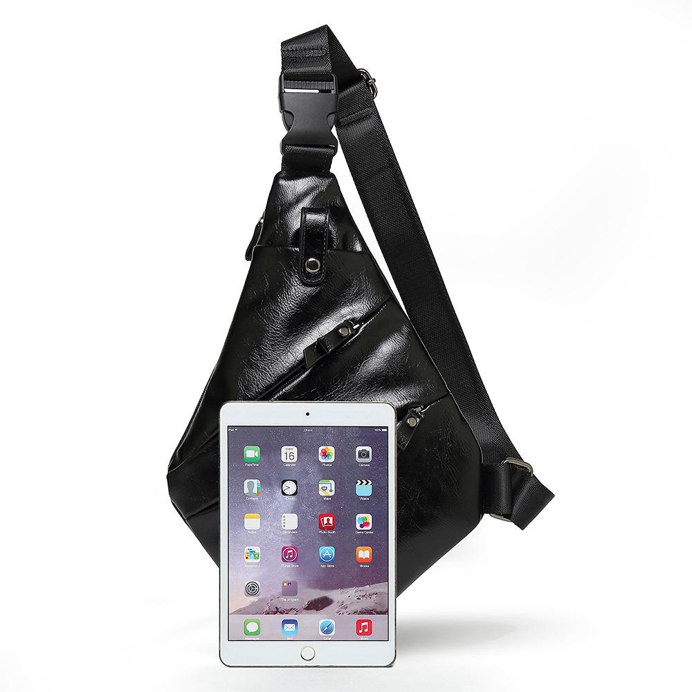 Personalized Waterproof Men's Chest Bag Multi-function Personal Anti-theft PU Gun Bag Fashion Outdoor Messenger Bag For Men 1