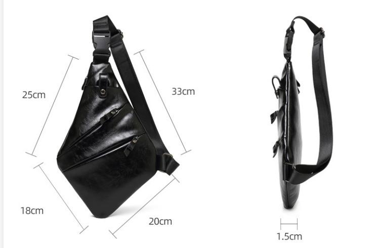 Personalized Waterproof Men's Chest Bag Multi-function Personal Anti-theft PU Gun Bag Fashion Outdoor Messenger Bag For Men 2