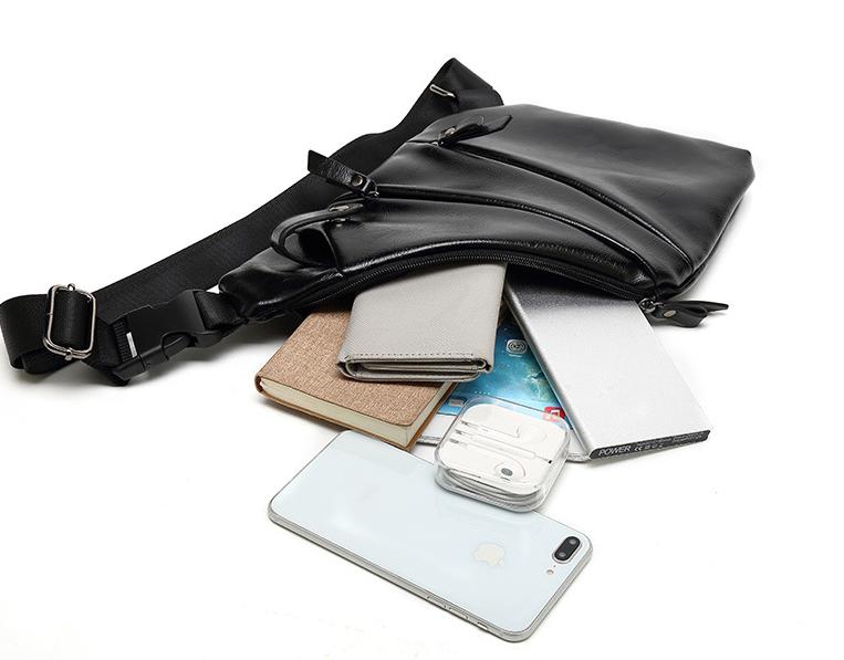 Personalized Waterproof Men's Chest Bag Multi-function Personal Anti-theft PU Gun Bag Fashion Outdoor Messenger Bag For Men 4