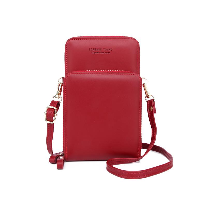 Mobile Phone Bag Vertical Wild Double Layer Pull Large Capacity Multi-function Shoulder Messenger Bag 5