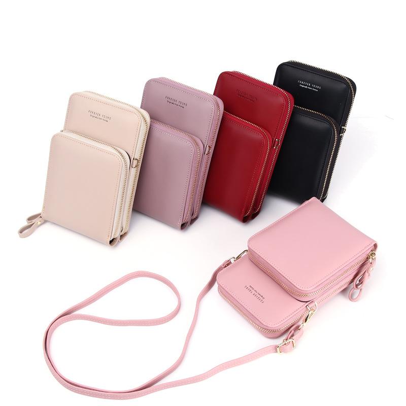 Mobile Phone Bag Vertical Wild Double Layer Pull Large Capacity Multi-function Shoulder Messenger Bag 0