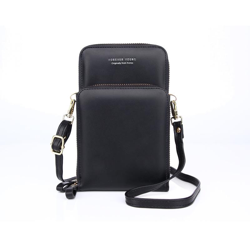 Mobile Phone Bag Vertical Wild Double Layer Pull Large Capacity Multi-function Shoulder Messenger Bag 4