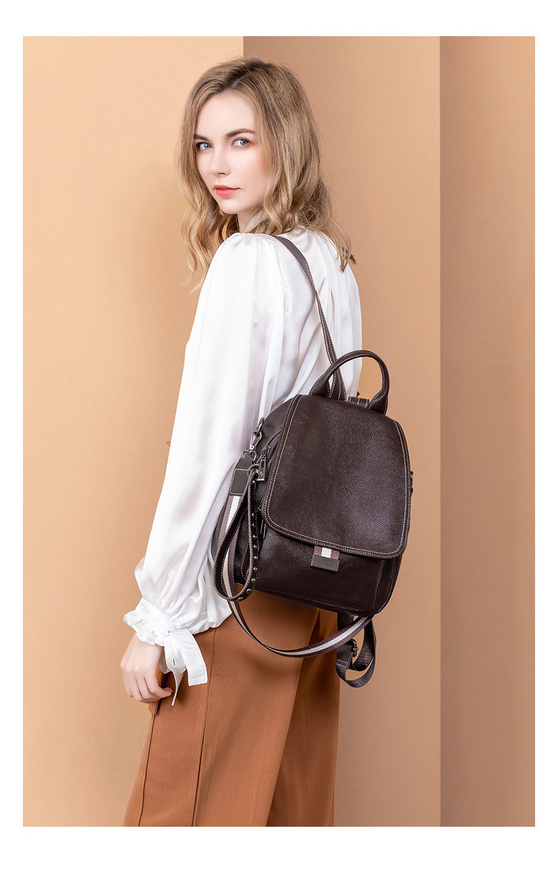 All-match Autumn And Winter Multi-function Backpack Large Capacity Soft Leather Anti-theft Travel Bag 2