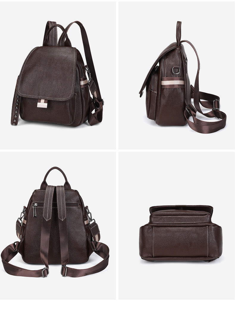All-match Autumn And Winter Multi-function Backpack Large Capacity Soft Leather Anti-theft Travel Bag 3