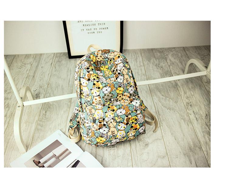 Canvas Backpack Primary School Schoolbag Female Cute Cat Print Backpack 2