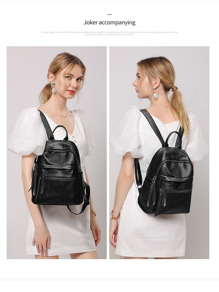 Large Capacity Fashion All-match Soft Leather Anti-theft Backpack Student School Bag Leisure Travel Bag 1