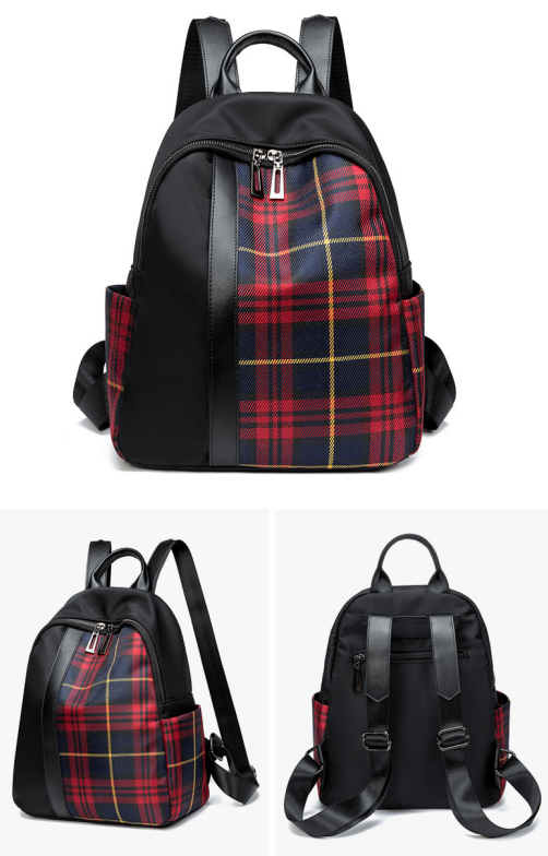 Contrast Checkered Backpack All-match Large Capacity Oxford Travel Backpack For Women 6
