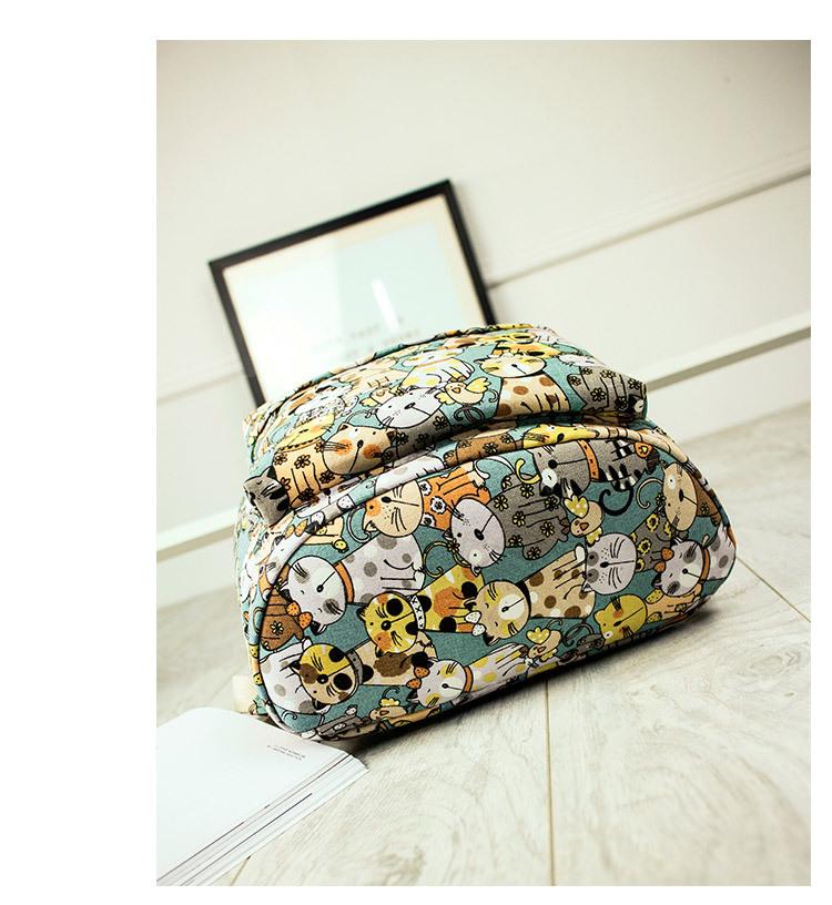 Canvas Backpack Primary School Schoolbag Female Cute Cat Print Backpack 4
