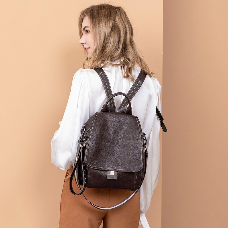 All-match Autumn And Winter Multi-function Backpack Large Capacity Soft Leather Anti-theft Travel Bag 5