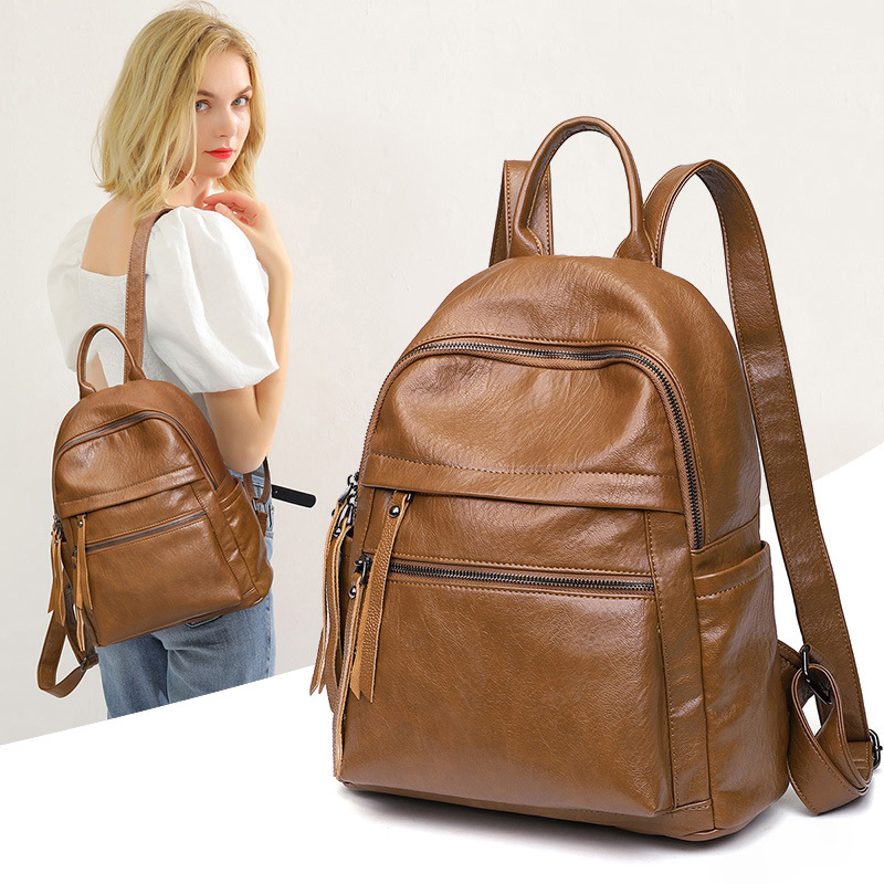 Large Capacity Fashion All-match Soft Leather Anti-theft Backpack Student School Bag Leisure Travel Bag 4