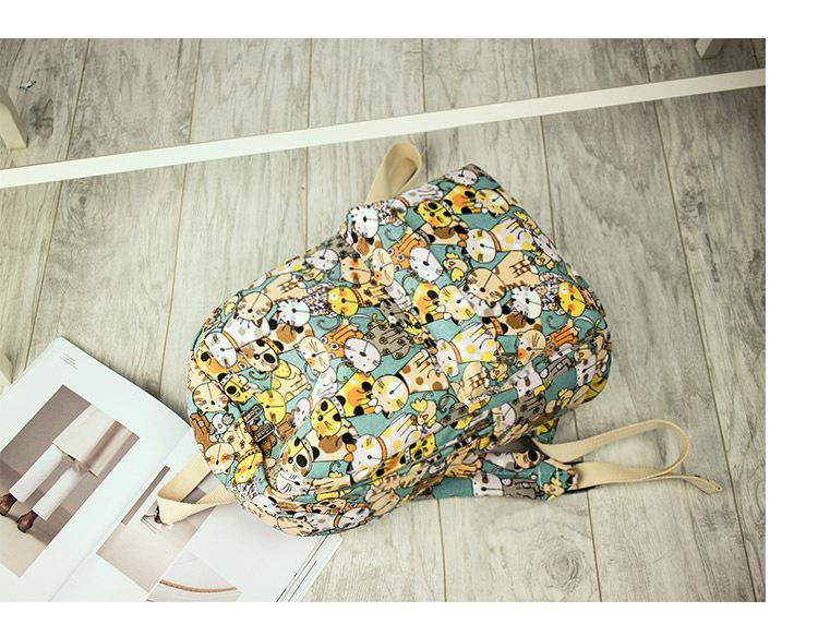 Canvas Backpack Primary School Schoolbag Female Cute Cat Print Backpack 5