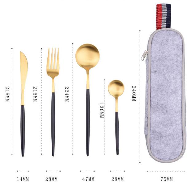 Gift Tooth Knife Fork Spoon Set Black Gold Titanium Paint Portable Cloth Bag Outdoor Travel Tableware Set 5 Piece MOQ 1 set 2