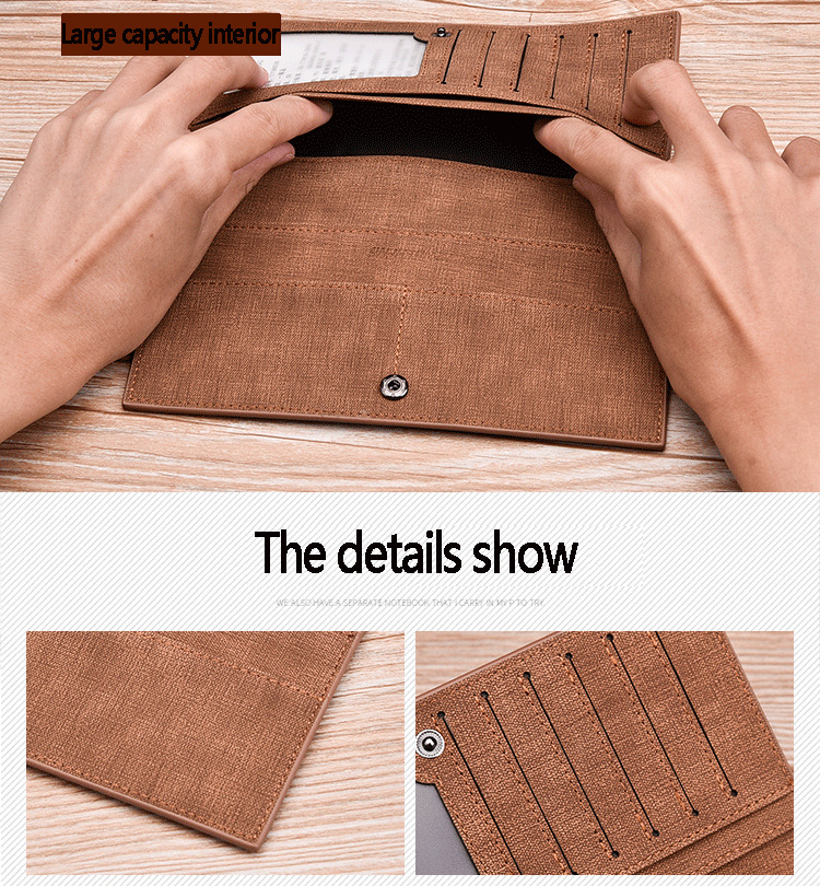 Long Wallet, Button Bag, Utra-thin Youth Men's Frosted Leather Wallet, Multifunctional Soft Leather Wallet 3