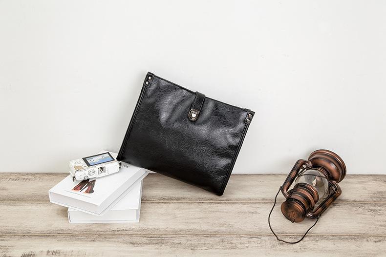 Diagonal Shoulder Bag Men's Leather Bag Business Casual Envelope Briefcase 5