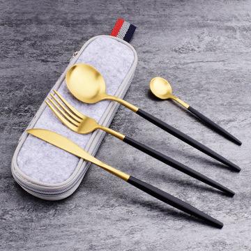 Gift Tooth Knife Fork Spoon Set Black Gold Titanium Paint Portable Cloth Bag Outdoor Travel Tableware Set 5 Piece MOQ 1 set 0