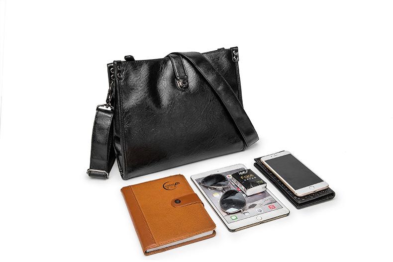 Diagonal Shoulder Bag Men's Leather Bag Business Casual Envelope Briefcase 6