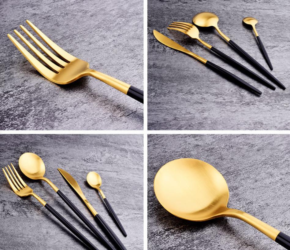 Gift Tooth Knife Fork Spoon Set Black Gold Titanium Paint Portable Cloth Bag Outdoor Travel Tableware Set 5 Piece MOQ 1 set 3