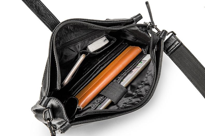 Diagonal Shoulder Bag Men's Leather Bag Business Casual Envelope Briefcase 9