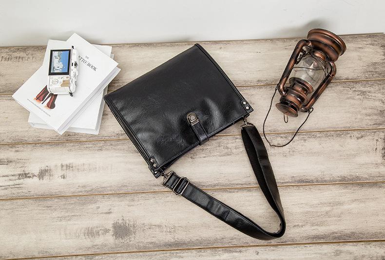 Diagonal Shoulder Bag Men's Leather Bag Business Casual Envelope Briefcase 3