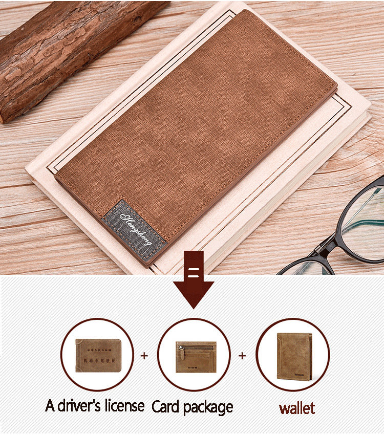 Long Wallet, Button Bag, Utra-thin Youth Men's Frosted Leather Wallet, Multifunctional Soft Leather Wallet 4