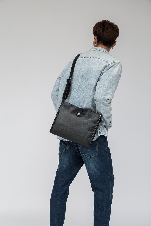 Diagonal Shoulder Bag Men's Leather Bag Business Casual Envelope Briefcase 1
