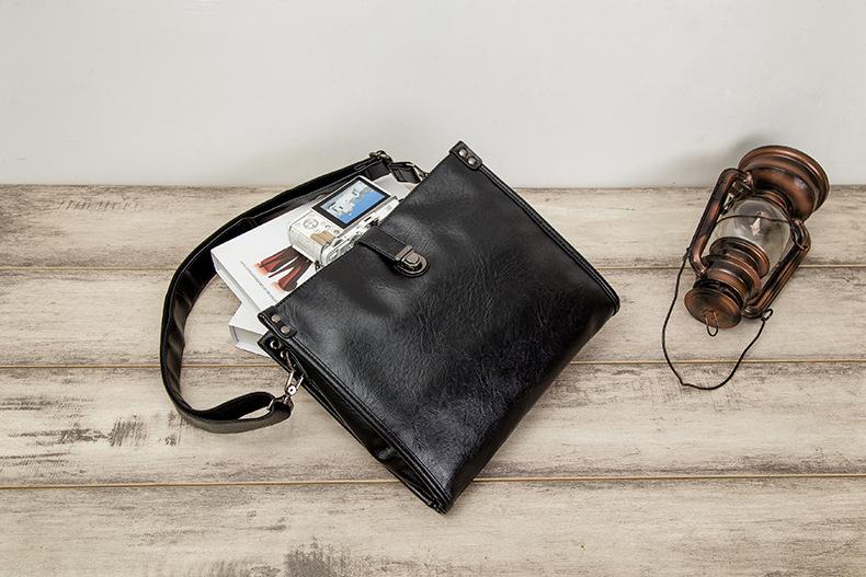 Diagonal Shoulder Bag Men's Leather Bag Business Casual Envelope Briefcase 4