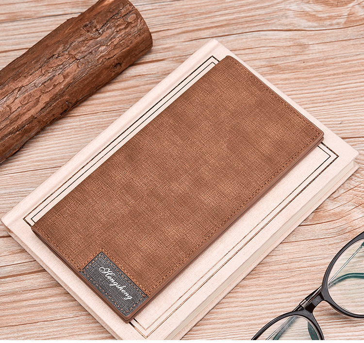 Long Wallet, Button Bag, Utra-thin Youth Men's Frosted Leather Wallet, Multifunctional Soft Leather Wallet 0
