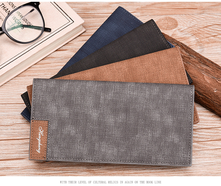 Long Wallet, Button Bag, Utra-thin Youth Men's Frosted Leather Wallet, Multifunctional Soft Leather Wallet 5