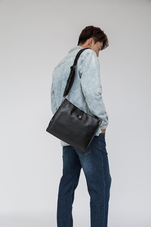Diagonal Shoulder Bag Men's Leather Bag Business Casual Envelope Briefcase 2